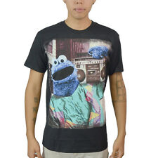 Sesame Street Cookie Monster Jamming Men's Black T-shirt NEW Sizes M-XL