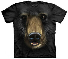 Black Bear Face T-Shirt Oversized Mountain Print Animal 100% Cotton Adult New