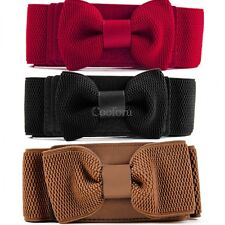 4 Colors Women Graceful Bowknot Elastic Lovely Belt With Buckle Waistband CO99