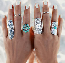 Retro Womens Hot Ring Boho Punk Finger Rings Geometry Vintage Style