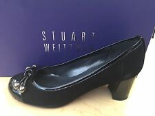 Stuart Weitzman Womens Ballstud Black Suede and Patent Leather Pumps