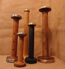 Bobbin Antique SET OF 5 Wooden Textile Mill Shuttle Spool Industrial  #910