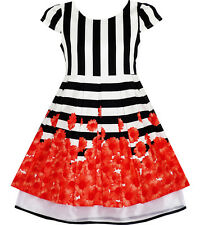 Sunny Fashion Girls Dress Black White Striped Red Flower Organza Hem Party 7-14