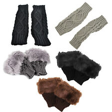 Lady Shaggy Faux Fur Knit Fluffy Hands LEG Warmers Ankle Boot Covers Gloves CP