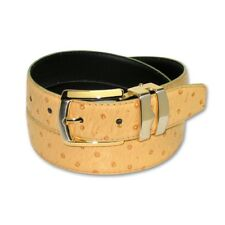 OSTRICH Pattern CAMEL YELLOW Bonded Leather Men's Belt Gold-Tone Buckle Regular