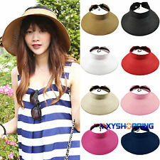 New Women Summer Wide Brim Roll Up Folding Beach Holiday Straw Visor Sun Hat Cap