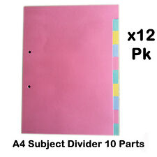 A4 Subject dividers 10 parts coloured punched board filling file index binders