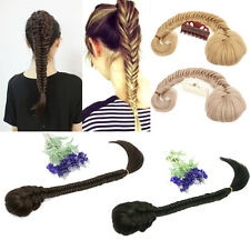 "20"" Synthetic Women Long Straight Braid Hair Clip In Ponytails Extensions"