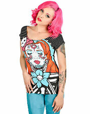 Too Fast Bolivar Tee PATIENCE Polka Dot Sleeves tattooed inspired Shirt top*