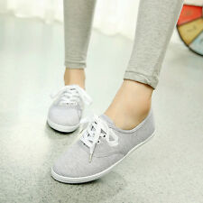 Classic Womens Canvas Laced Up Casual Sneakers Tennis Flats Ladies Sports Shoes