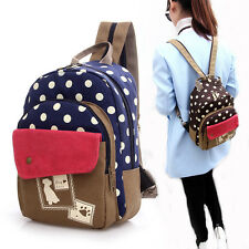 Small Cute Women Girls Print Canvas Double Layer Travel Backpack&Shoulder Bag