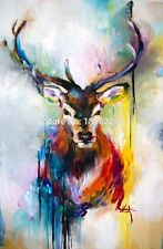 Colorful Deer 24x36in Canvas Wall Art Abstract Animal Oil Painting Home Decor