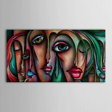 Hand Painted Oil Painting People Sex Girl Big Eyes Wall Art Decor 48in Unframed