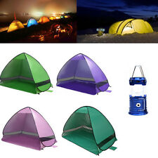 Windproof Waterproof Double Layer Tent Fishing Camping Hiking + Camping Lamp