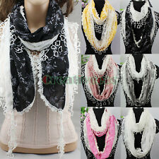 Women Embroidery Lace Stitching Floral Shawl Trim Tassel Infinity Cowl Scarf New