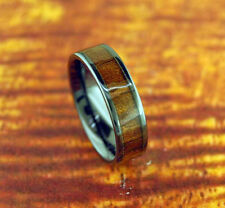 Black Ceramic Wedding Band with Koa Wood Inlay 6mm-Engagement Ring,Wood Ring,New