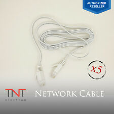 5FT Thin Cable Ethernet Lan Network CAT5e RJ45 Patch Cord Internet - White NEW
