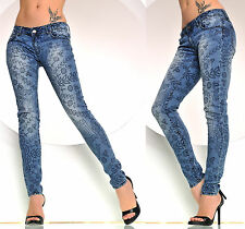 Jeans Tube Trousers Low-rise Skinny Jegging Treggings Stretch Print