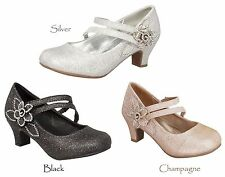 New Girls Black Champagne Gold Silver Dress Shoes Heels Kids Pageant Dance Party