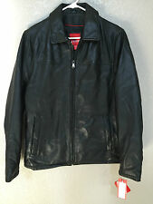 $495 (NWT) IZOD Mens Black SOFT Lamb Leather Coat/Jacket HIGH QUALITY Sizes S/M