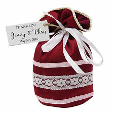 Satin Net Drawstring Gift Wedding Party With Personalized Tags Potli Favor Bag