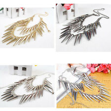 Punk Rock Gothic Multilayer Chain spike Rivets Tassel Necklace Gold silver Hot