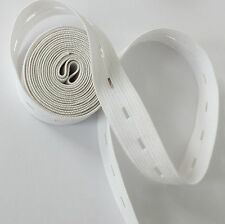 """20mm 3/4"""" WHITE Button hole Buttonhole Elastic Woven Waistband Notion sewing"""
