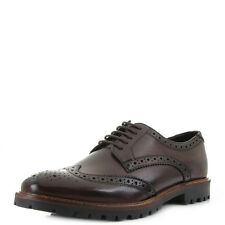 Mens Base London Trench Washed Brown Leather Lace Up Brogues Shoes Size