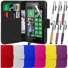 PU Leather Wallet Case Cover, LCD Film & Retractable Stylus for Nokia Lumia 520