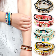 Advanced  7 Layers Bohemian Beads Mixcolor Stretch Multilayer Bracelet