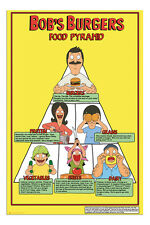 Bobs Burgers Food Pyramid TV Show Poster New - Maxi Size 36 x 24 Inch