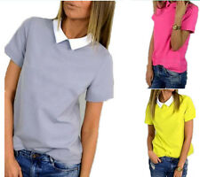 Doll Collar Blouses Slim Shirt Chiffon Tops Short Sleeve Pure Color Korean Women