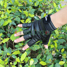 Man Leather Fingerless Motorcycle Bike Bicycle Car Riding Sports Hip-hop Gloves