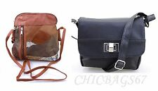 Ladies Small Compass Patched Leather Organizer Cross body  Shoulder Bag Handbag