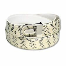 Men's Snake Skin Belt WHITE & BLACK Genuine SnakeSkin Mens Bonded Leather Belt