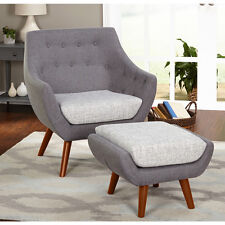 Mid Century Modern Chair And Ottoman Fabric Wood Seating Lounge Grey Furniture