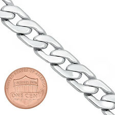Men's Heavy 11.5mm 14k White Gold Layered Rhodium Plated Cuban Link Curb Chain