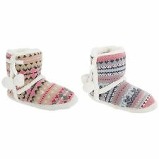 Womens/Ladies Knitted Slipper Boots With Fleece Lining And Pom Poms