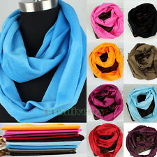 Round Casual Women's Solid Color Velvet Warmer Infinity Loop Cowl Eternity Scarf