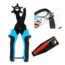 Cool Heavy Duty Strap Leather Hole Punch Hand Plier Belt Punch Revolving For DIY
