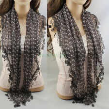Women Lace Crochet Bow-Knot Triangle Mantilla Scarf Shawl Wrap Lace Tassel New
