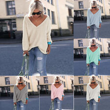 Fashion Women Loose Sweater Long Sleeve Knitted Pullover Jumper Tops Knitwear