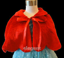 Red Faux Fur Flower Girls Children Kids Wedding Short Jacket Coat Wrap Cape 1-9Y