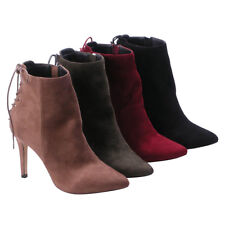 BETANI KENDRA-1 Women's Lace Up Stiletto High Heel Ankle Bootie BLACK;OLIVE;WINE