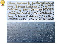 MERRY CHRISTMAS Peel Off Stickers Card Making Stars Trees Dots Gold or Silver