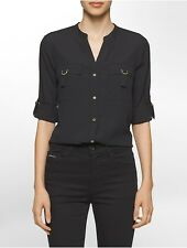 calvin klein womens solid d-ring roll-up sleeve top shirt