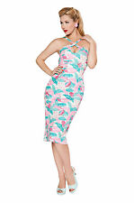 BETTIE PAGE CROSS MY HEART FLAMINGO WIGGLE DRESS BD009592 sexy vintage pinup