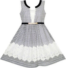 2-in-1 Girls Party Dress Checked Black White Lace Belt Princess Size 7-14