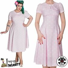 HELL BUNNY Madden ~ Pink Polka Dot Pinup Dress ~ Rockabilly Wartime 40s Vintage