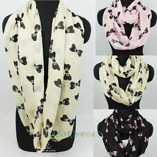 Fashion Cute Bow-knot Pattern Print Infinity Loop Cowl Eternity Circle Scarf